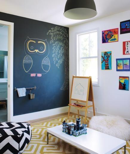 Tekenen op de muur met schoolbordverf