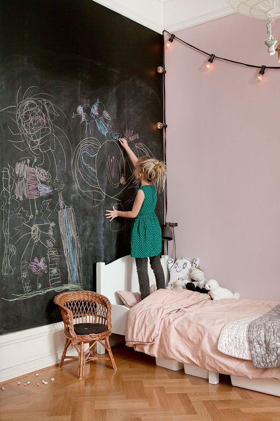 Oneindig tekenen op de schoolbordmuur