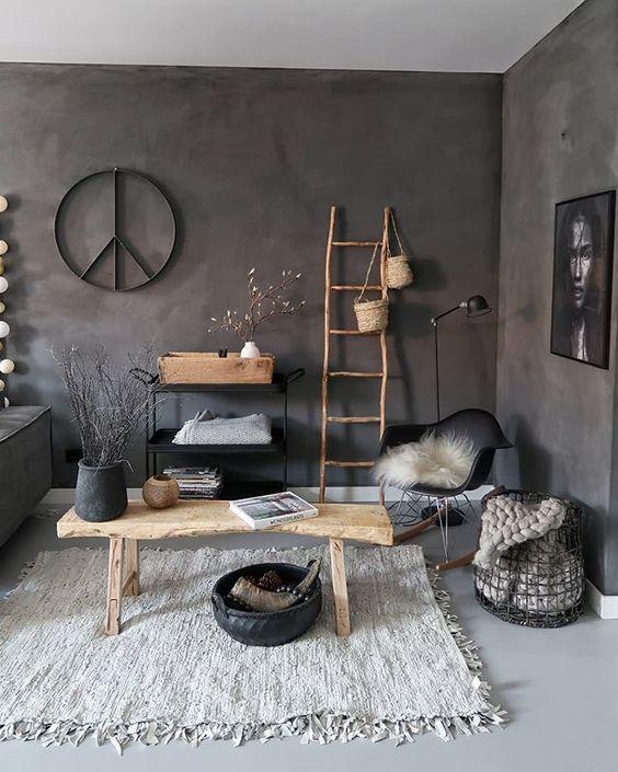 Ibiza stijl met muur in betonlook